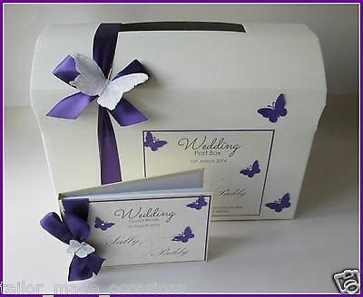 Personalised Butterfly Wedding Card Chest/Post Box PLUS Guest Book.Colour Choice
