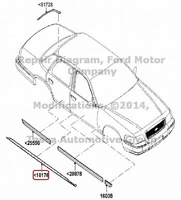 New Oem Lh Rocker Panel Mouldling Ford Crown Victoria Mercury Grand Marquis