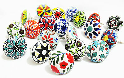 10 Mix Ceramic Knobs Door Drawer Cupboard Cabinet Pull Handle Knob - SALE !!!