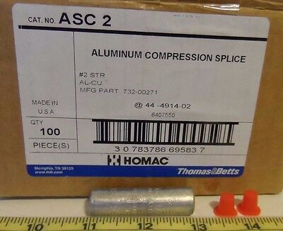 Box of 100) Homac ASC2 #2 Str Aluminum Compression Splice Crimp Cable Connector