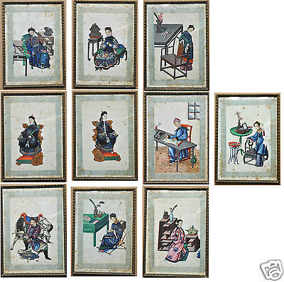 10 Antique Chinese China Qing Dynasty Watercolor Painting Pith Rice Sunqua 1850