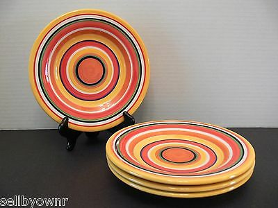 "SET OF 4 Tabletops Gallery 8.5"" PLATES Bulls Eye Pattern Yellow White Multicolor"