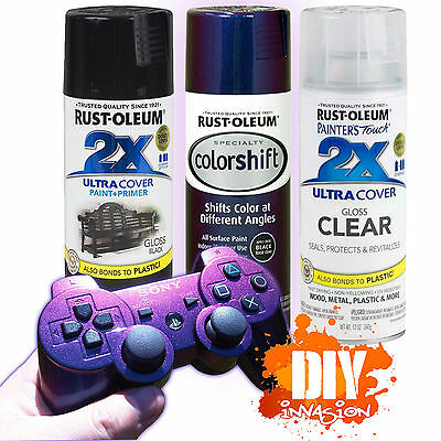 RustOleum Galaxy Blue Colorshift Spray Paint Kit Black Base Coat & Gloss Clear