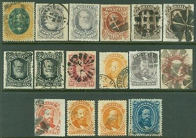 BRAZIL : A Beautiful group of all VF & Fresh Dom Pedro issues. Catalog $595.00.
