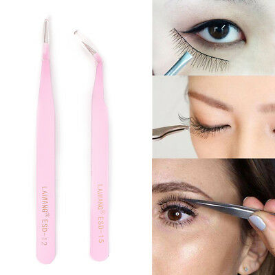 2PCS Pink Straight & Curved Tweezer For Eyelash Extensions Nail Art Nippers