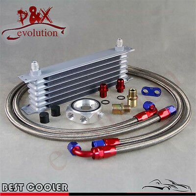 Universal 7Row 8-AN8 Engine Transmission Oil cooler+Filter Sandwich adapter kit