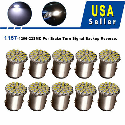 10x 6000K White 1157 BAY15D 22 SMD LED Tail Brake Backup Reverse Light Bulbs 12V