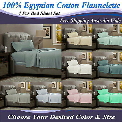 NEW QUEEN & KING Size EGYPTIAN Cotton FLANNELETTE / FLANNEL 4Pcs Bed Sheet Set