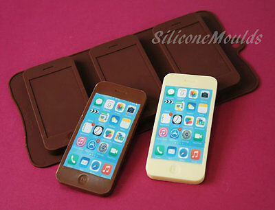 3 cell Chocolate Iphone Silicone Mould Candy Mold Cake Decorating Novelty Gift