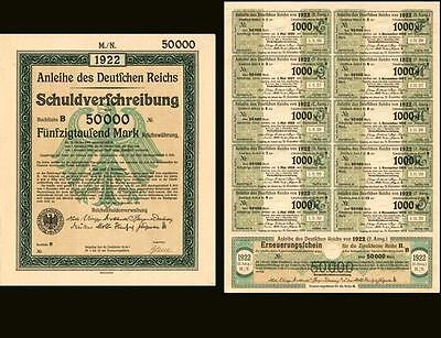 1922 Berlin German Bonds 10x 50,000 Mark + coupons