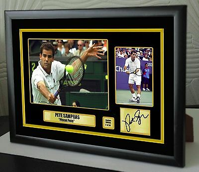 """Pete Sampras Limited Edition Framed Canvas Tribute Print Signed """"Great Gift"""""""