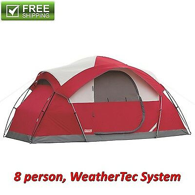 Coleman 8-Person Tent Waterproof Weathertec All Season Camping Hiking Outdoor