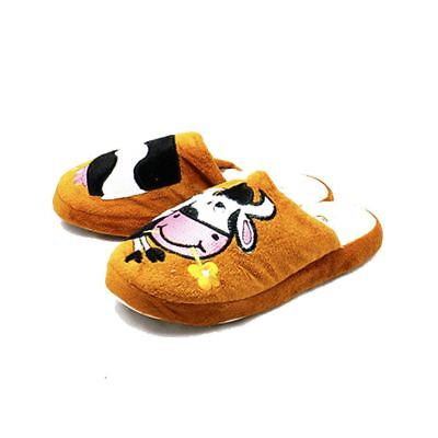 Brown open back slippers with cow front