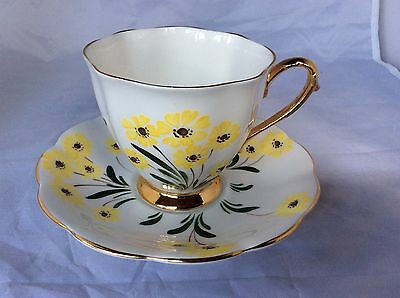 Royal Standard Teacup and Saucer, Hand Painted Yellow Flowers England Bone China