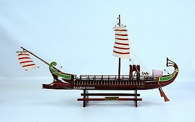 "CAESAR Roman Bireme 30BC Ancient Warship 24"" - Handmade Wooden Boat Model NEW"
