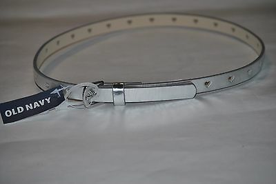 Girl's Old Navy Metallic Silver with Heart Cut Out Belt, Size S, M, L
