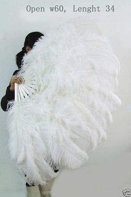 White 60″XL Large double layers Ostrich Feather Fan burlesque dancing gift box
