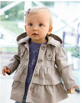 Kids Baby Girls Autumn Winter Trench Coat Wind Jacket Outerwear Parka Overcoat