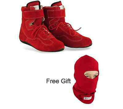 Red Nomex fire proof racing boots