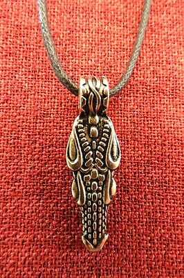 Dragon Head Celtic Pendant Smaug Norse Game of Thrones Medieval Gold Pewter Cord