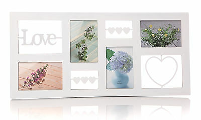 Wooden Love Heart Family Wedding Multi Aperture Photo Picture Frame Plaque Sign
