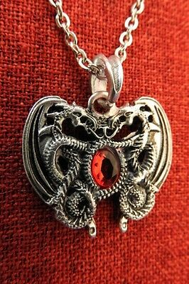 Double Dragon Crystal Heart Celtic Smaug Norse Viking Medieval Silver Pendant