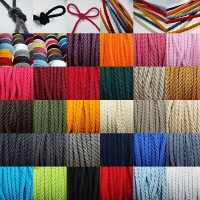 Quality 5mm 100% Cotton Barley Twist Cord. 28 Colours. Bag Rope Upholstery    Z2