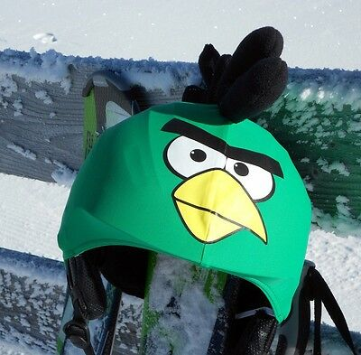Green Angry Birds helmet covers for skiing, snowboarding, scootering, cycling
