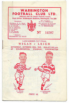1949 - Wigan v Leigh, Lancashire Cup Final Match Programme.