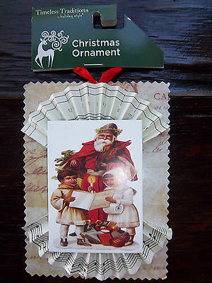 Victorian Style Santa Kids Father Christmas Carolers Tree Ornament Christmas NEW