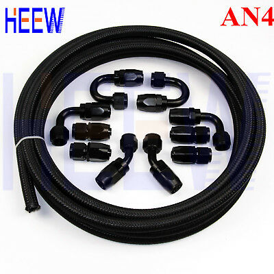 AN4 -4AN Nylon Steel Braided OIL FUEL Line + Fitting Hose End Adaptor KIT Black