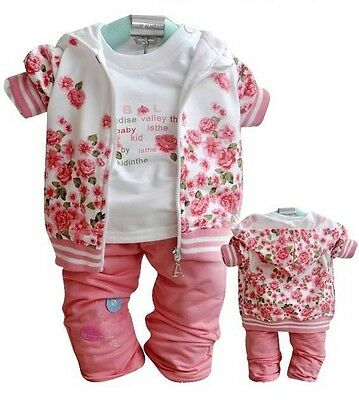 3pcs Kinder Baby Mädchen Tops + T shirt + Hose Set Outfit Kleidung Peony Floral