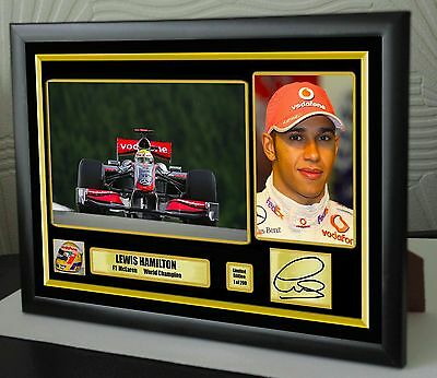Lewis Hamilton F1 World Champion McLaren Framed Canvas Print Signed.