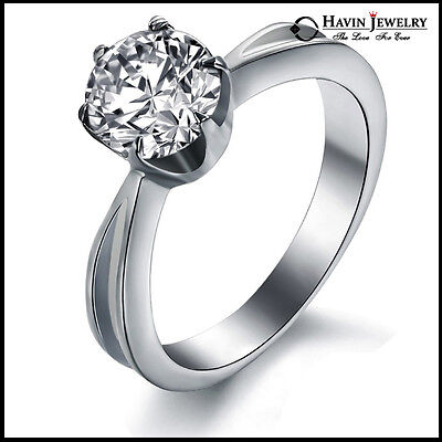 Women's Stainless Steel Wedding Solitaire Shining CZ Crystal Ring Anniversary US
