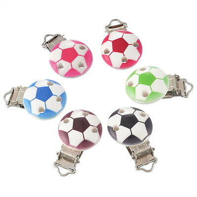 5 Mixte Clips Pinces Crocodile Attache Tétine Football Bois Rond 4.5x2.85cm