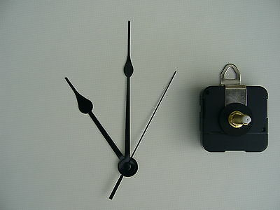 CLOCK MECHANISM QUARTZ EXTRA LONG SWEEP SPINDLE 130mm BLACK FRENCH SPADE HANDS
