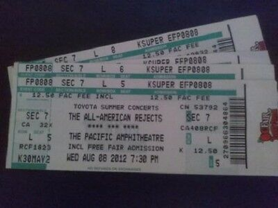 4 The All American Rejects Concert Tickets unused from 8/8/2012 OC Fair