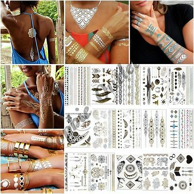 Temporary Metallic Tattoo Flash Tattoos Necklace Bracelet Gold Silver & Black