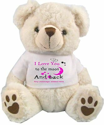 Personalised White Teddy Bear  Love You To The Moon And Back Valentines Day Gift