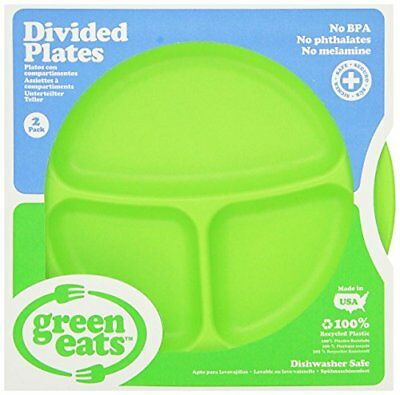 Green Eats 2 Pack Divided Plates, Green New