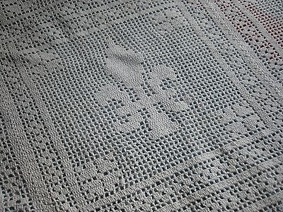 Antique French Bedcover -Bedspread -Hand Crochet Coverlet -Fleurs De Lys - 1900'