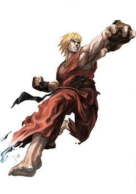Sticker Autocollant Poster A4 Jeux Video Street Fighter 4. Personnage Ken Master