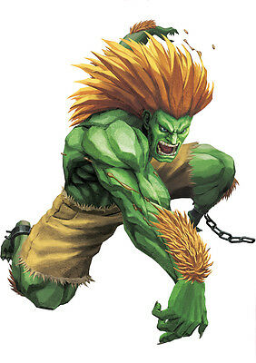 Sticker Autocollant Poster A4 Jeux Video Street Fighter 4. Personnage Blanka .