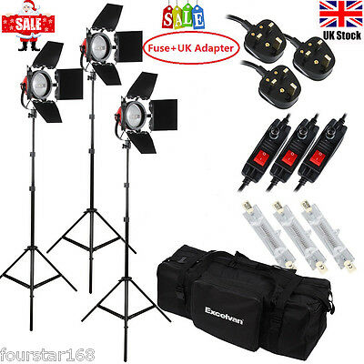 3x800W Dimmable Red Head Continuous Studio Video Light Kit +Light Stand Barndoor