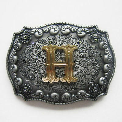 "Initial Letter ""H"" Cowboy Rodeo Western Metal Belt Buckle"