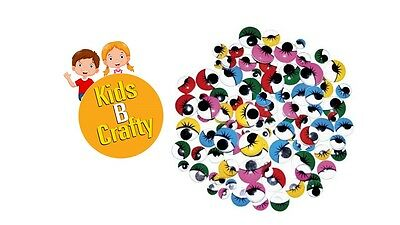 100 Wiggly Wobbly Googly Eyes EYELASHES For Craft Mixed Sizes Pack FREE POST