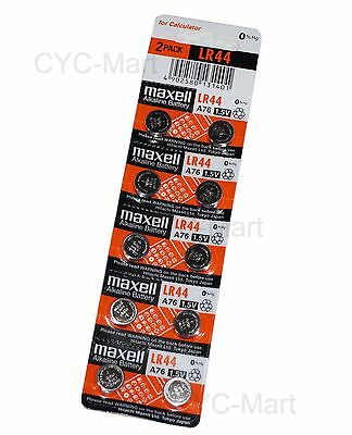 New 0% Hg Maxell  LR44  AG13  A76 Batteries x40 pcs FREE registered Post 12/2021