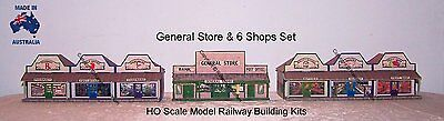 HO Scale Country General Store + 6 Shop Set Model Railway Building Kit - GSS1