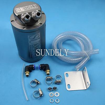 New Universal Cylinder Style Car Racing Engine Oil Catch Tank Can Reservoir Grey
