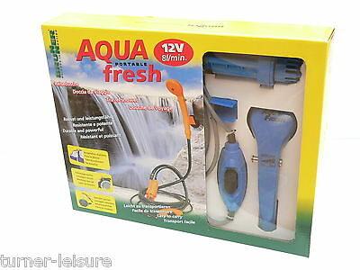 AQUA FRESH 12v QUALITY PORTABLE SHOWER AND WATER PUMP 8/litre per min motorhome